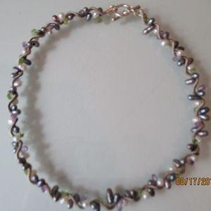 Handmade Sterling Silver Seed Pearl & Bead Choker